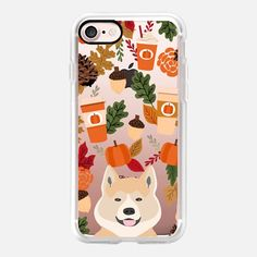 akita funny cell phone case pumpkin spice latte fall autumn leaves transparent cell phone case - Classic Grip Case