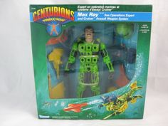 Vintage Centurions Max Ray Sea Operations Expert and Cruider Assault Weapon System. Action Figure Toy. Made by KENNER in the 80s.