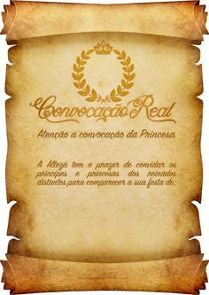 Convite Pergaminho Coroa de Princesa                              …                                                                                                                                                     Mais Medieval Party, Prince Party, Ideas Para Fiestas, Printable Paper, Baby Shower Parties, Shower Party, Holidays And Events, Beauty And The Beast, Wedding Designs