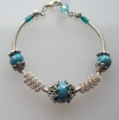 NEW!  Turquoise Clay and WIre Wrapped Bracelet by SarahsArtisanJewelry, $30.00