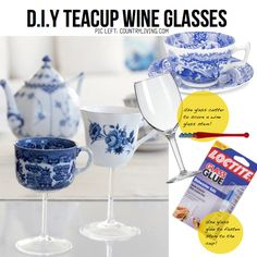 Turn a tea cup into a wine glass. | 24 Clever Things To Do With Wine Glasses