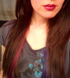 Dark pink and dark blue streaks under hair
