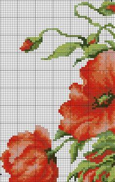 Poppies 2 of 6 Cross Stitch Books, Cross Stitch Love, Cross Stitch Pictures, Cross Stitch Flowers, Counted Cross Stitch Patterns, Cross Stitch Charts, Cross Stitch Embroidery, Stitch Cartoon, Cross Stitching