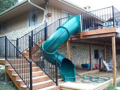 Deck Design Tip: 2019 A slide is a great way to add fun and uniqueness to your two story deck. Plus the kids will love it! The post Deck Design Tip: 2019 appeared first on Deck ideas. Deck Slide, Second Story Deck, Two Story Deck Ideas, Deck Railings, Railing Ideas, Railing Design, Deck Stairs, Diy Deck, Decks And Porches