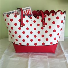 "Polka Dot Pizzazz Fun red and white leather like shopper tote with cute scalloped edge. 11"" x 17"" with a comfortable 10"" drop. Space for all your essentials plus. Magnetic closure. Perfect condition. Adorable !!! Bags Totes"