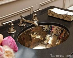 Create a Smashing Powder Room - Traditional Home hammered copper sink