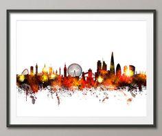 London England Skyline Art Print 1067 by artPause on Etsy