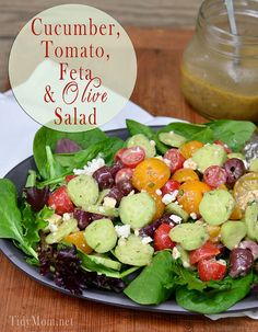 Cucumber, Tomato, Feta & Olive Salad with Honey Dill Vinaigrette and a #SaladSocial at TidyMom.net