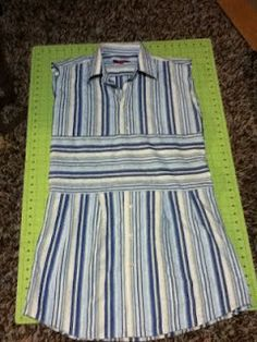 cute dress from old mens button-down shirt!