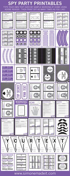 Spy Secret Agent Birthday Party Invitations & Decorations for girls - Purple…