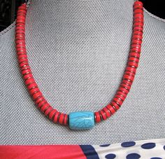 My dear 81 year old jewelry designer friend just designed this charming red heishi bead and a turquoise magnesite center piece called BEACH JEWELRY. $19.00.  I love this for Summer!!
