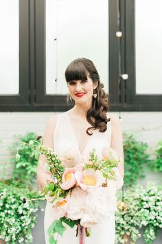 Modern Brooklyn Wedding at 501 Union 2015 Wedding Trends, 2015 Trends, Wedding 2015, Spring Wedding, Illusion Neckline, Pantone Color, One Shoulder Wedding Dress, Bouquet, Wedding Dresses