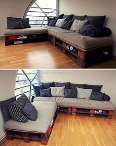 We are proudly bringing to you a fascinating wooden pallet couch with storage. This dark-brown paint on this attractive couch and the large storage capacity in this comfortable project is making this upcycled plan an ideal one for every lounge.  #sofa #palletsofa #palletcouch #pallet #pallets #woodpallets #palletfurniture #palletprojects #palletideas #recycle #recycledpallet #reclaimed #repurposed #reused #restore #upcycle #diy #palletart