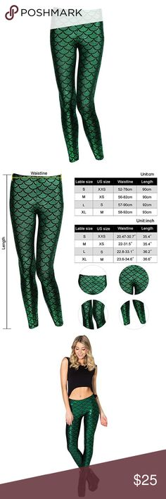 Mermaid leggings Brand new with tags. Green mermaid leggings (second photo is for size reference) 88% polyester 12% spandex high stretch material. Runs small pls see size chart in second photo of reference when choosing your size. Sexy tight and comfortable fit. High waist, slimming design. Perfect for nightclub , party, or any occasion. Posh rules only. No trades. No paypal. No low ball offer. Pls and thank you. Bundle up your likes and I'll en you a private discounted offer. Pants Leggings