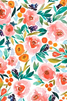 Indy bloom Design Pink Berry Blossom by indybloomdesign - Hand painted watercolor flowers on fabric, wallpaper, and gift wrap. Pink and orange hand painted flowers with emerald and olive leaves. #floral #weddingfloral #design #wallpaper #whimsy #art #watercolor