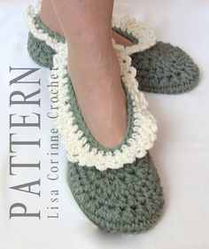 Bridal Slippers Lacy Edged Modern Crochet PATTERN PDF by LisaCorinneCrochet $5.95