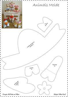 Eu Amo Artesanato: Bichinhos sentados de feltro com molde