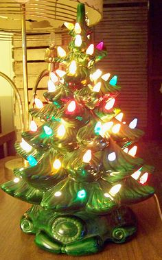 ♥ Ceramic Christmas Trees! This is just like the one my mom made years ago. I use it every year. Same bulbs and all lit up!