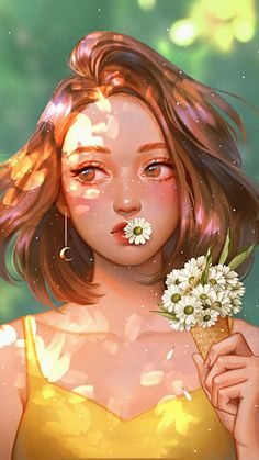 Girl with Daisy Flowers iPhone Wallpaper- Best Picture For flower wallpaper living room For Your Taste You are looking for something, and it is going to tell you exactly what you are looking for, and you didn't find that picture. Here you will find the m Daisy Wallpaper, Cute Wallpaper Backgrounds, Wallpaper Iphone Cute, Cute Wallpapers, Iphone Wallpapers, Cool Anime Girl, Anime Art Girl, Girl Cartoon, Cartoon Art