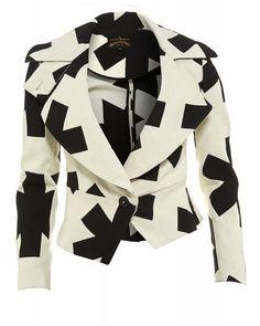 Vivienne Westwood Anglomania Jacket Cream & Black Asterix Jacquard Print Blazer