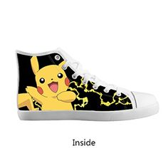 Pokemon Pikachu Boy/Girl Kids Canvas Shoes Lace Up High Top Breathable Sneakers - Pokemon Canvas Shoes