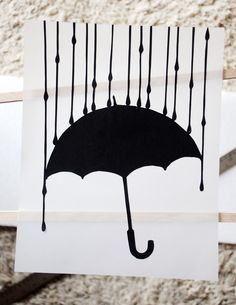 Rain, rain hand cut 8x10 silhouette on paper vellum. $25.00, via Etsy.