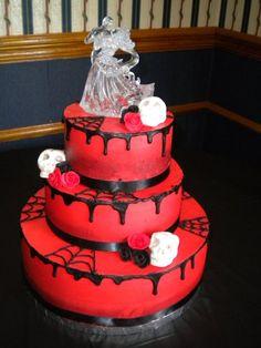 Black & Red, Skulls & Webs.  Love this..