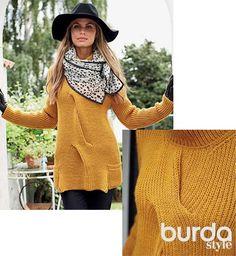 Схема и описание вязания на спицах свитера  широкой косой из журнала Burda. Creazion 5/2014