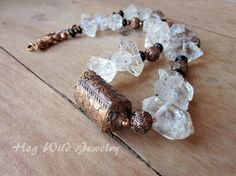 Copper and Crystal Quartz Nugget Necklace on Etsy, $135.00