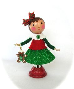 Clothespin Doll Christmas Girl Red and Green by cottoncandydolls, $30.00
