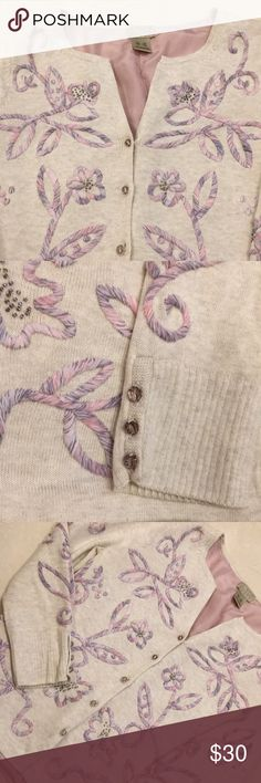 """Beautiful Vintage Sigrid Olsen cardigan Vintage Sigrid Olsen cardigan, 5 bead button front, v neck, embroidered and beaded, light purple silk lining in body of sweater, sleeves approximately 18"""" in length from shoulder, size xs Sigrid Olsen Sweaters Cardigans"""