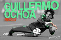 Goalie Guillermo Ochoa, Mexico For my list of great goalies: Costa Rica's Keylor Navas, USA's Tim Howard, Argentina's Sergio Romero, Holland's Jasper Cillisen with Guillermo Ochoa.these guys are brick walls with their saves! World Cup 2014, Fifa World Cup, Lionel Messi, World Cup Groups, Mexico Soccer, Soccer Inspiration, Football Mexicano, Image Memes, James Rodriguez