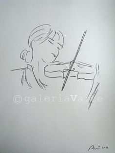 charcoal drawing original  violinist  music  by galeriaVarte, $65.00