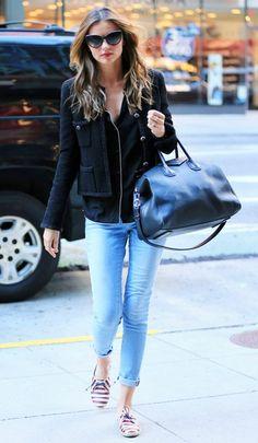 Cat eyeglasses black top & cropped jacket & blue jeans pants Miranda Kerr street style #fashion