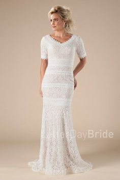 mormon wedding dresses, the Cordelaine with lace and mermaid fit Modest Dresses, Cute Dresses, Bridesmaid Dresses, Dresses With Sleeves, Mormon Wedding Dresses, Latter Day Bride, New Dress Collection, Christian Bride, Chic Wedding
