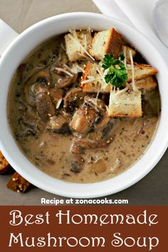 This easy homemade Mushroom Soup is rich and savory filled with two types of fresh mushrooms and onions seasoned with thyme, bay leaf, and soy sauce. Too finish it is topped with shredded Parmesan and fresh cracked black pepper. Easy Mushroom Soup, Homemade Mushroom Soup, Mushroom Soup Recipes, Homemade Soup, Onion Soup Recipes, Healthy Soup Recipes, Veggie Recipes, Cooking Recipes, Fresh Tomato Soup