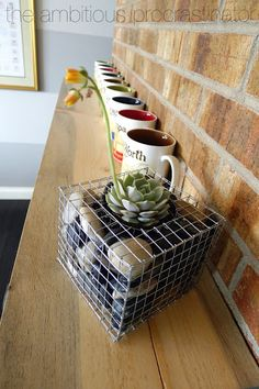 the ambitious procrastinator: Pinspired By: Gabion Planters Diy Planters, Garden Planters, Indoor Garden, Indoor Plants, Outdoor Gardens, Gabion Stone, Outdoor Projects, Diy Projects, Suculentas Diy