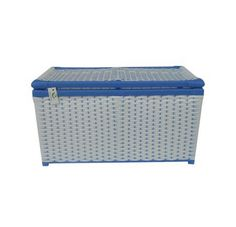 Baú Fibra Sintética Branco E Azul 70x34x36