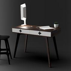 "Mid century modern ""Plus"" desk in Walnut. Scandinavian minimalist retro design"