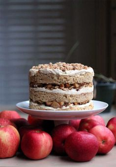 apple pie cake: rich brown butter cake, buttery pie crumbs, spiced apples, and tangy cheesecake frosting