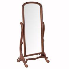 Staande spiegel Vivianne in elegant, bruin houten frame is een echte blikvanger.