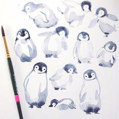 sketchbook page of baby penguins. Because...baby penguins tatjanamaiwyss.com
