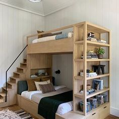This bunk bed by Amber Lewis creates so much storage space! Created for her latest project, this bunk bed was combined with a bookshelf and drawers. Plus, unlike typical bunk beds, this one has a small set of stairs that lead to the upper level. Camper Bunk Beds, Bunk Bed Rooms, Bunk Beds For Boys Room, Loft Bunk Beds, Bunk Bed Plans, Bunk Bed Designs, Home Room Design, Tiny Bedroom Design, Kids Bedroom Designs