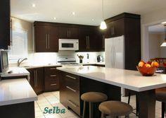 Dark kitchen cabinets and white appliances... not bad!