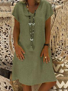 Women Dresses Knee Length Streetwear Summer Dress Women Plus Size Cotton Linen Dress Vintage Casual Vestidos Mujer Size S Color Black Casual Summer Dresses, Summer Dresses For Women, Short Sleeve Dresses, Dress Casual, Mini Dresses, Dress Summer, Loose Dresses, Short Sleeves, Dress Beach