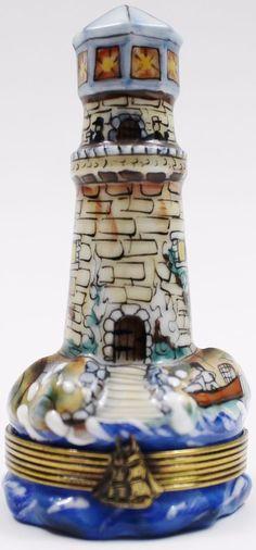 Limoges France Peint Main LIGHTHOUSE Vintage Rare Trinket Box #Limoges