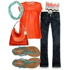Aqua and Tangerine...let's finish out the summer!