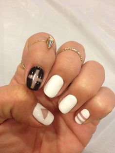 Negative space nail art black and white