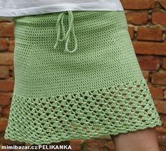 Jednoduchá dámská háčkovaná krátká sukně Crochet Skirts, Crochet Tunic, Filet Crochet, Crochet Clothes, Crochet Stitches, Knit Crochet, Crochet Patterns, Crochet Fashion, Crochet Crafts