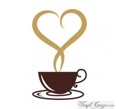 Coffee Cup Steaming Hearts from Vinyl Craze...personalize your space